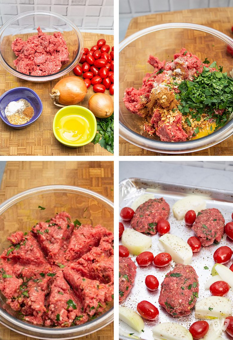 Collage of 4 photos showing ingredients and steps for making Broiler Kebab Sheet Pan Meal