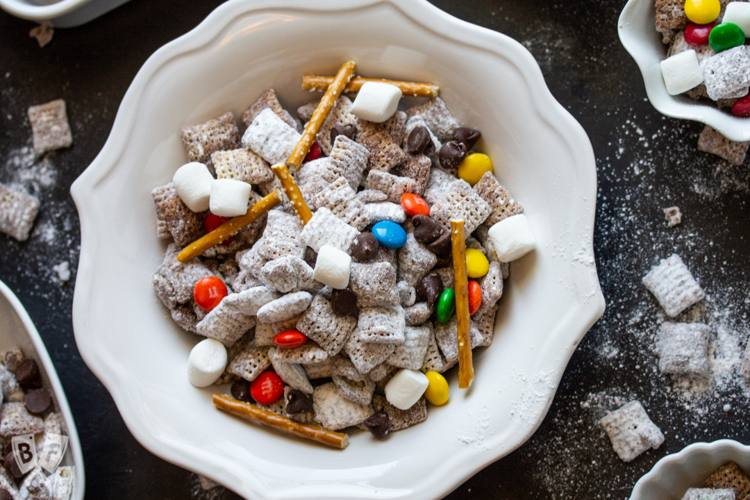 Overhead view of bowls of Puppy Chow (AKA Muddy Buddies)