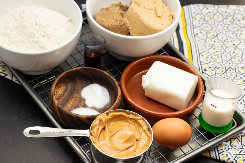 Ingredients for baking peanut butter cookies