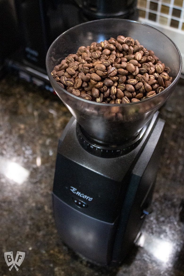 Coffee beans in a burr grinder to use for making cold brew coffee