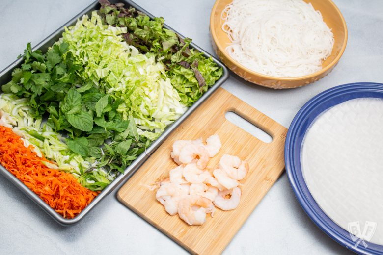 Ingredients prepped and ready to assemble Vietnamese Fresh Spring Rolls