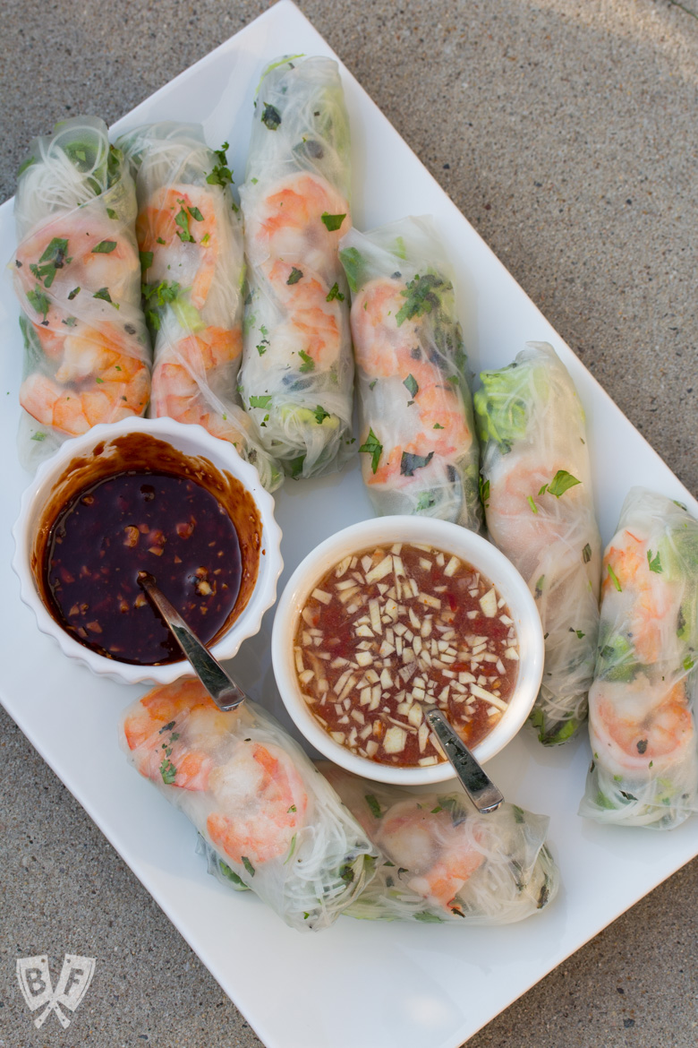 Platter of Vietnamese fresh spring rolls with shrimp and 2 dipping sauces.