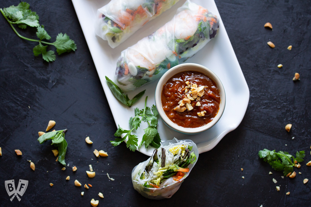 Vietnamese Fresh Spring Rolls With Shrimp Peanut Sauce