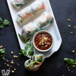Platter of Vietnamese Fresh Spring Rolls with Shrimp + Peanut Sauce