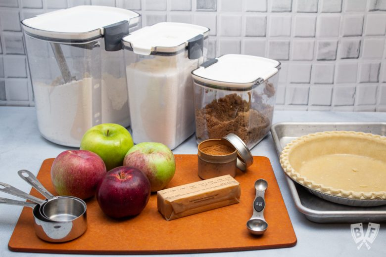 Ingredients for Dutch apple pie with a pie