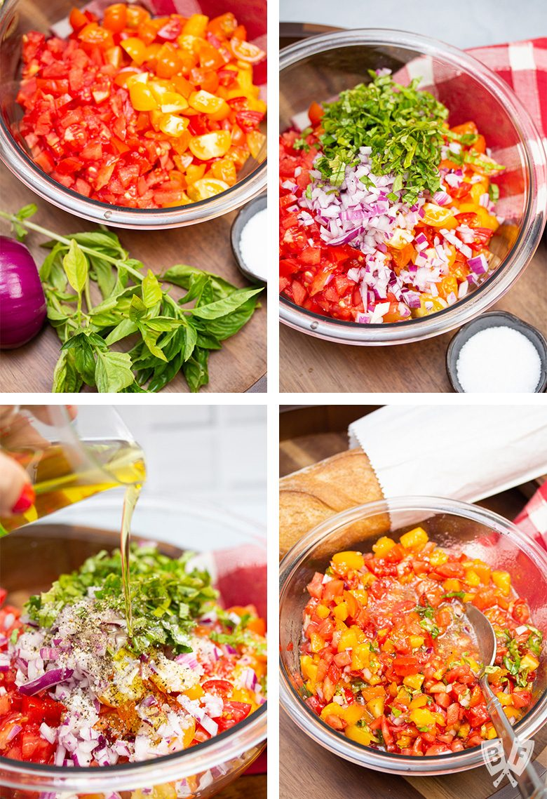 Steps for making Italian bruschetta mixture