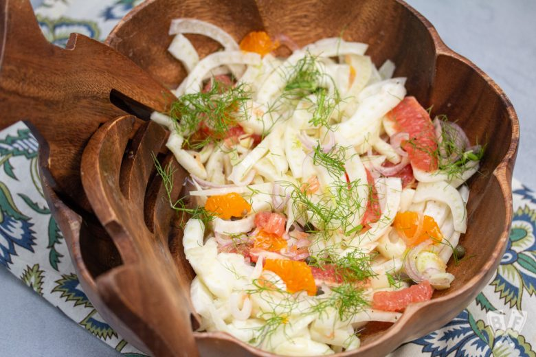 Bowl of fennel and citrus salad.