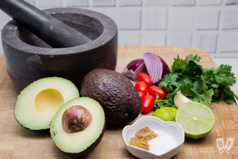 Ingredients for making restaurant-style guacamole.