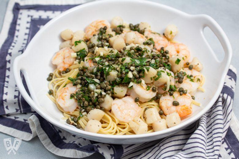 Bowl of Shrimp + Scallop Linguine with Lemon Caper Butter