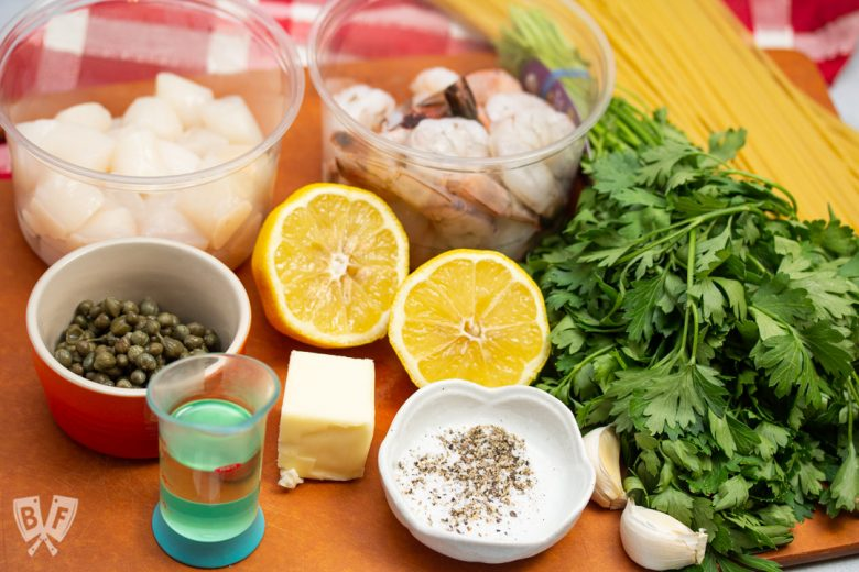 Ingredients for Shrimp + Scallop Linguine with Lemon Caper Butter