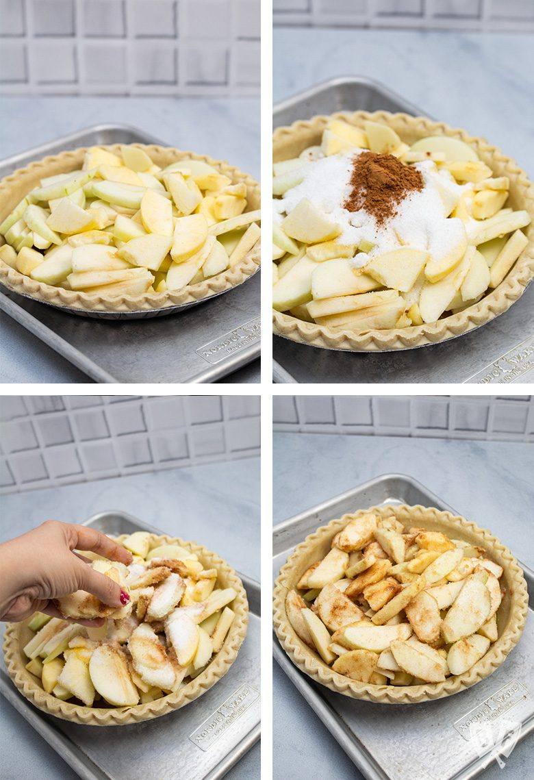 4 steps for mixing the filling for Dutch apple pie