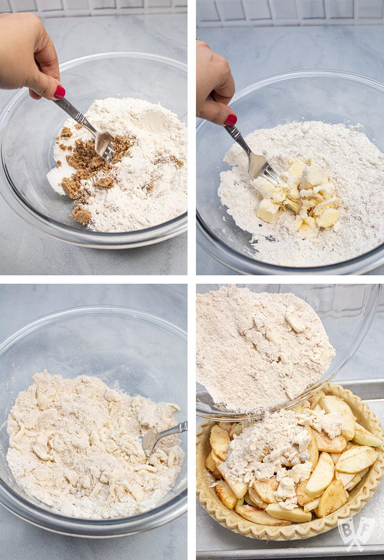4 steps for mixing the topping for Dutch apple pie