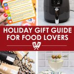 Assortment of holiday gifts for food lovers: foodie trivia game, air fryer, small batch candies, cocktail accessories