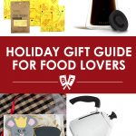 Assortment of holiday gifts for food lovers: beeswax wrap, coffee carafe, custom cookies, gooseneck kettle