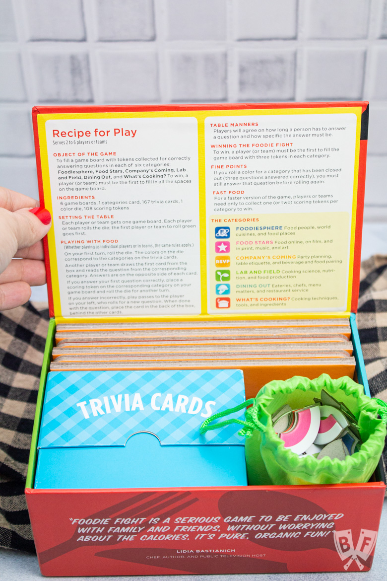Opening the box for Foodie Fight trivia game