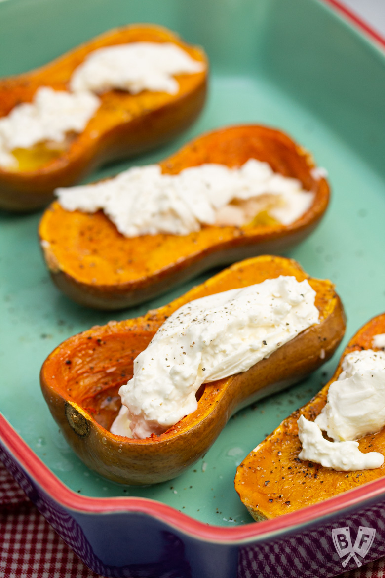 Roasted honeynut squash topped with burrata cheese