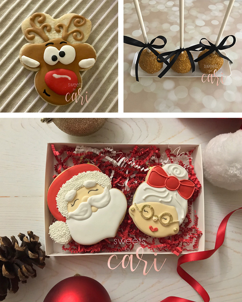Collage of holiday cookies decorated by Sweets by Cari