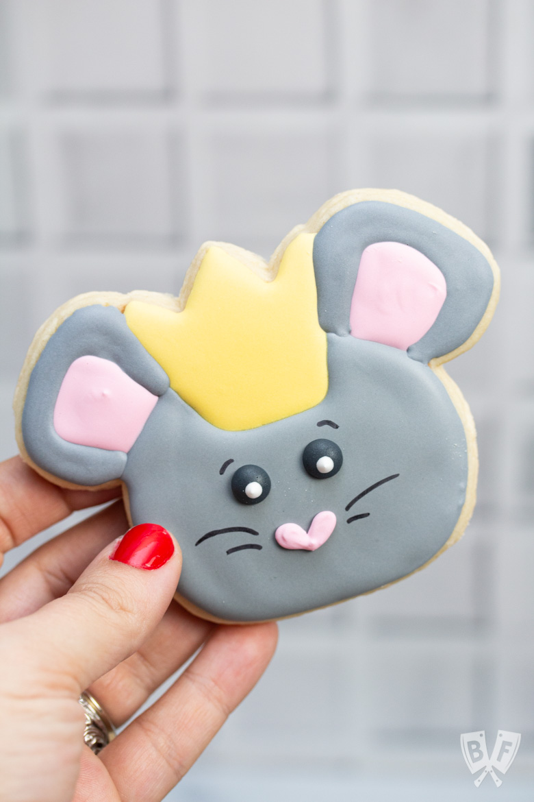 Handmade, decorated mouse cookie