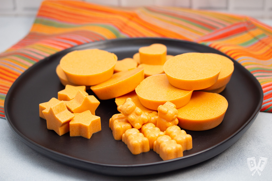 Plate with various shapes of Tangerine Coconut Jelly