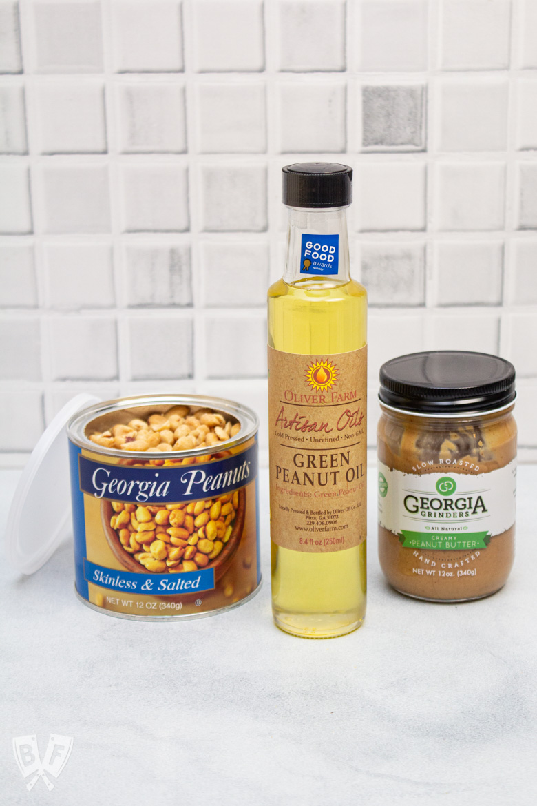 Containers of Georgia peanuts, peanut oil and peanut butter