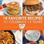 Photos of pancakes, sloppy joe sandwiches, chicken fajitas, and falafel in pita