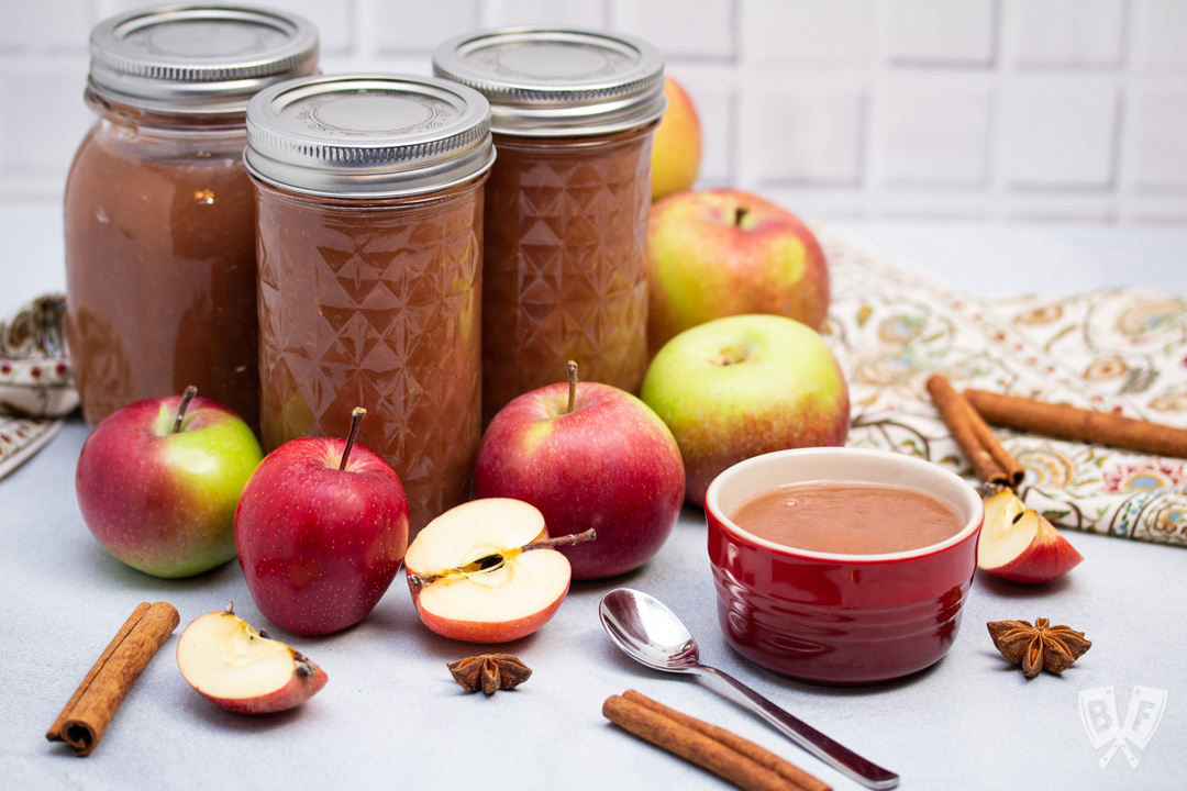 Jars of applesauce surrounded by apples and whole spices.