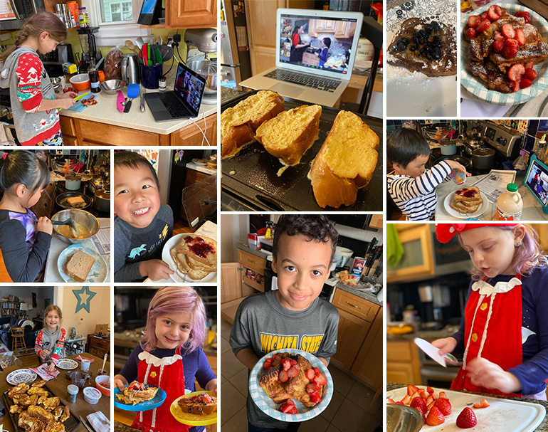 Collage of kids cooking and prepping French toast for a virtual cooking class.