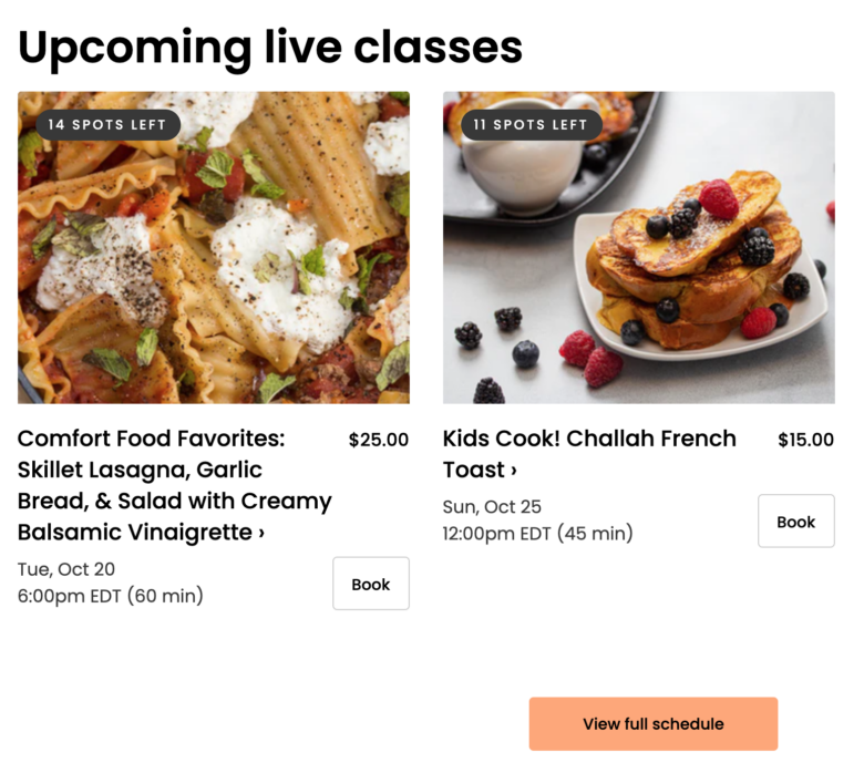 Sample of 2 upcoming cooking class listings, one for lasagna and one for french toast.