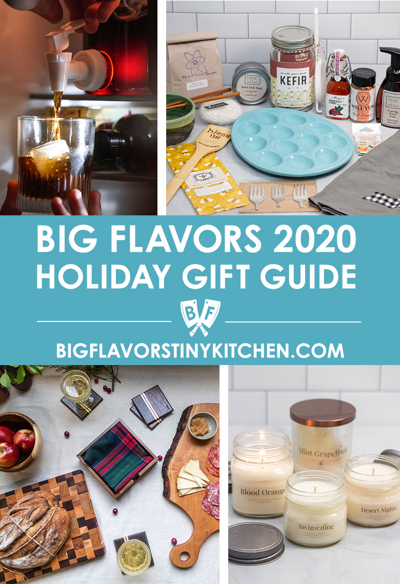 Collage of small business gift ideas for the Big Flavors 2020 holiday gift guide.