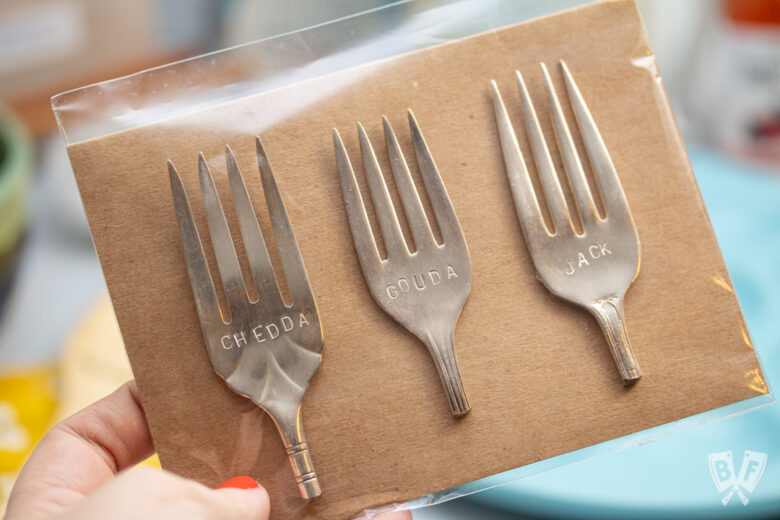 "Set of 3 cheese marker forks that say ""chedda"" ""gouda"" and ""jack"" from Bliss Co-op."