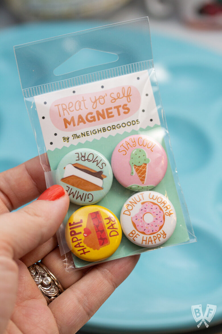 Assorted food-themed magnets with dessert illustrations from Bliss Co-op.