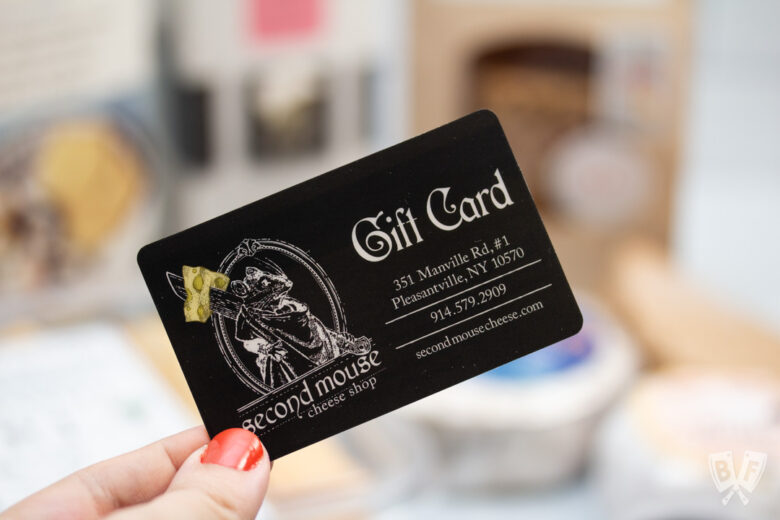 Gift card from Second Mouse Cheese Shop in Pleasantville, NY.