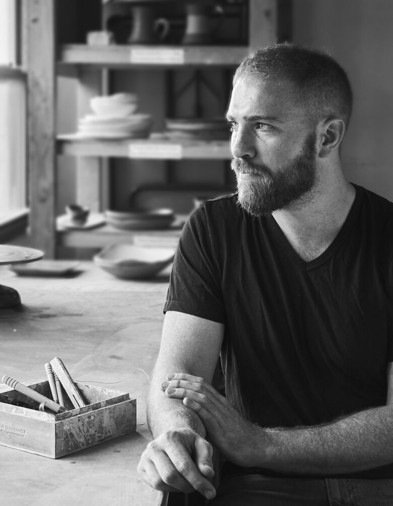 Photo of Connor McGinn in his studio.