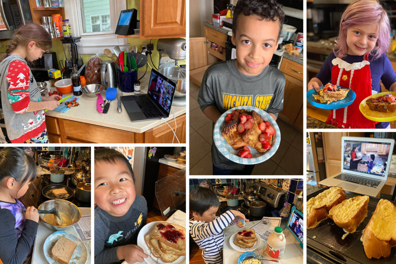 Collage of kids making challah french toast in a virtual cooking class.