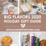 Collage of holiday gift items including hot cocoa mix, artisan cheeses, honeycomb, and cookbooks.