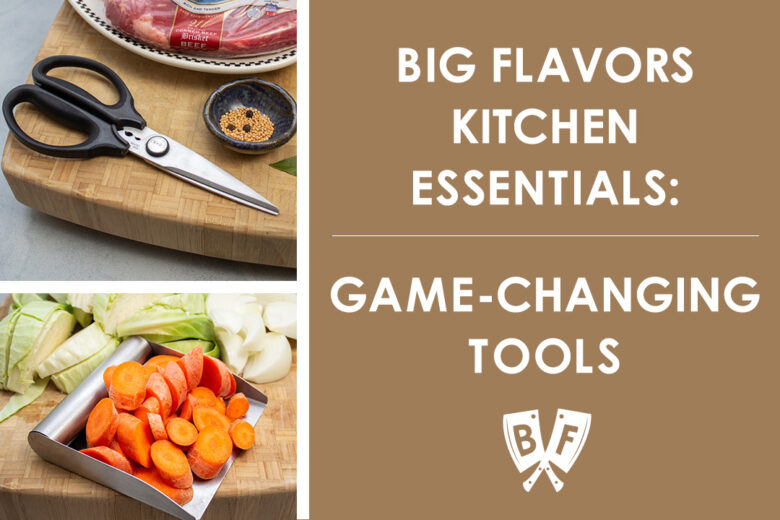 Collage of kitchen tool images - kitchen scissors and a bench scraper with sides.
