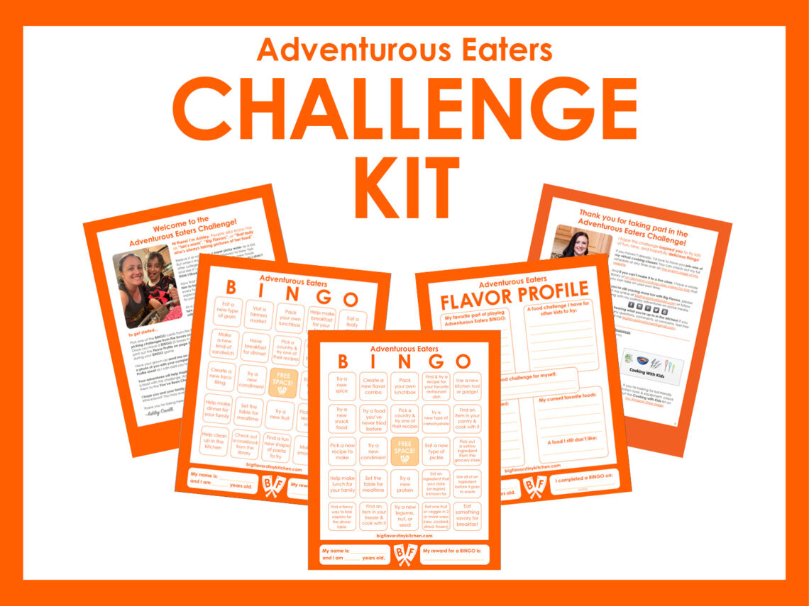 Text that says Adventurous Eaters Challenge Kit with previews of 5 printable pages.