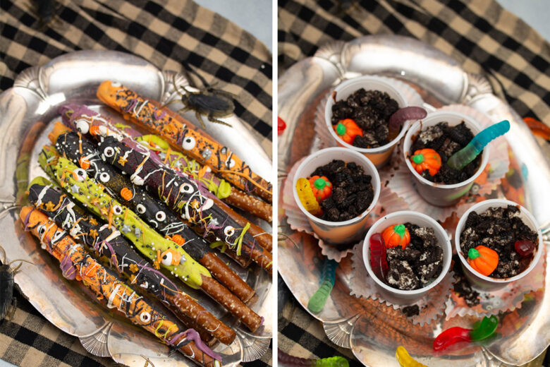 Side by side photo of 2 Halloween dessert plates.