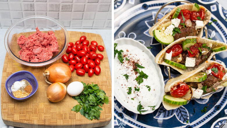 Ingredients for kebab and finished kebab in pita bread with yogurt sauce.