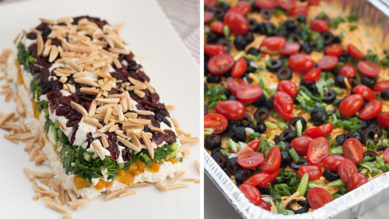 Side by side of 2 appetizers - layered gorgonzola torta an avocado layer dip.